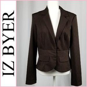 Iz Beyer Brown and Cream Pinstriped Blazer